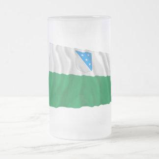 Valga Waving Flag Frosted Glass Beer Mug