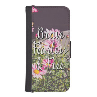 Valiente, audaz y cite libremente, las flores billetera para teléfono