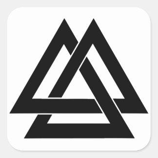 Valknut - Black Square Sticker
