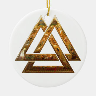 Valknut - gold Double-Sided ceramic round christmas ornament