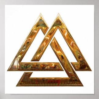 Valknut - gold print