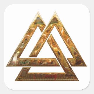 Valknut - gold square sticker