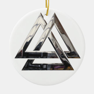 Valknut - silver Double-Sided ceramic round christmas ornament
