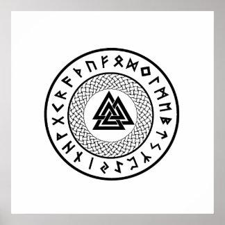 Valknut - Wotans Knot - Odin Rune Poster