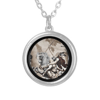 Valkyrie Carrying Hero to Valhalla Round Pendant Necklace