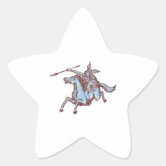 Valkyrie Warrior Riding Horse Spear Etching Star Sticker