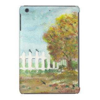 Valla de estacas y árbol del otoño con la acuarela funda de iPad mini