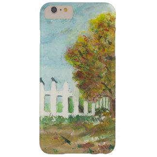 Valla de estacas y árbol del otoño con la acuarela funda de iPhone 6 plus barely there