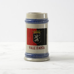 Valle d'Aosta waving flag with name Beer Stein
