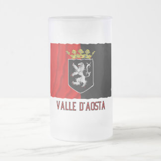 Valle d'Aosta waving flag with name 16 Oz Frosted Glass Beer Mug