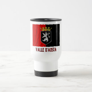 Valle d'Aosta waving flag with name 15 Oz Stainless Steel Travel Mug
