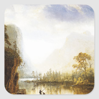 Valle de Albert Bierstadt Yosemite Pegatina Cuadrada