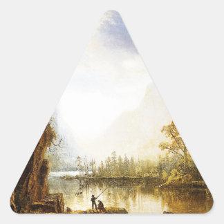 Valle de Albert Bierstadt Yosemite Pegatina Triangular