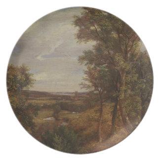 Valle de Dedham 1802 aceite en lona Platos De Comidas