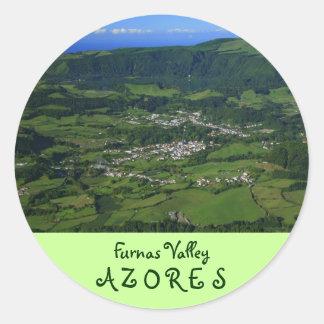 Valle de Furnas - Azores Pegatina Redonda