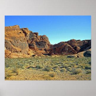 Valle de las formaciones de roca del fuego posters