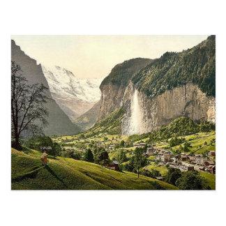 Valle de Lauterbrunnen con Staubbach, Bernese Tarjetas Postales