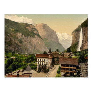 Valle de Lauterbrunnen con Staubbach y el hotel Postales
