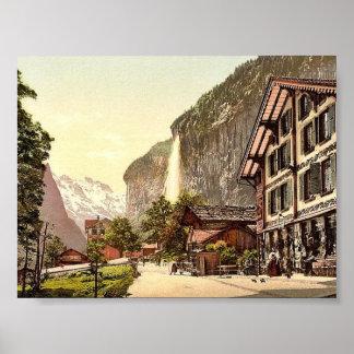 Valle de Lauterbrunnen, opinión de la calle con St Póster