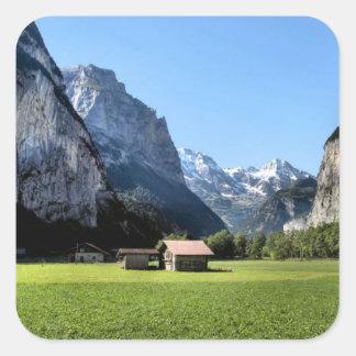 Valle de Lauterbrunnen Pegatina Cuadrada