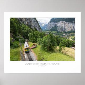 Valle de Lauterbrunnen, Suiza - impresión de la pa Póster