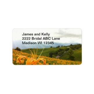 Valle de oro de la flor del Daylily Etiqueta De Dirección