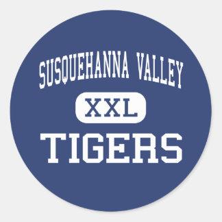 Valle de Susquehanna - tigres - joven - Conklin Etiqueta Redonda