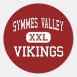 Valle de Symmes - Vikingos - alto - madera Ohio de Pegatina Redonda