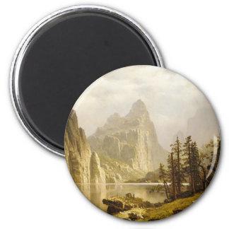Valle de Yosemite del río de Bierstadt Albert Imán Redondo 5 Cm