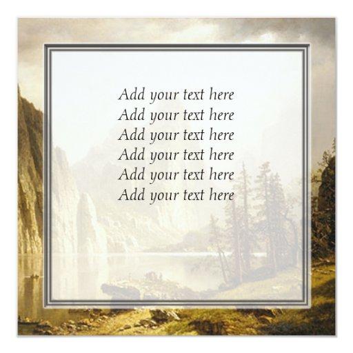 """Valle de Yosemite del río de Bierstadt Albert Invitación 5.25"""" X 5.25"""""""