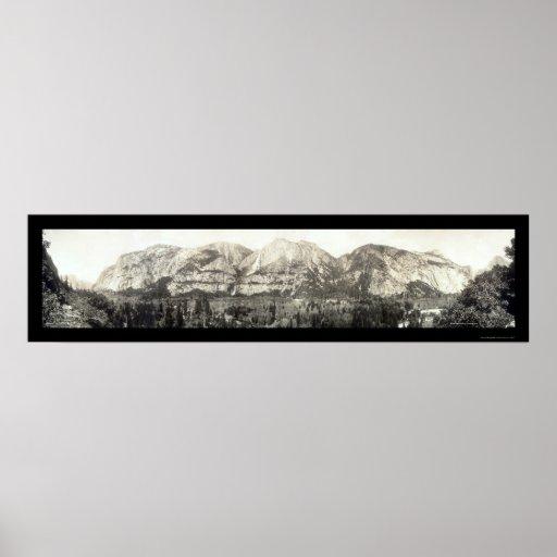 Valle de Yosemite, foto 1915 de CA Póster