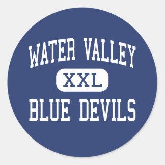 Valle del agua - diablos azules - joven - valle de etiquetas redondas