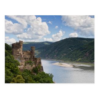 Valle del Rin - postal de Rheinstein del castillo