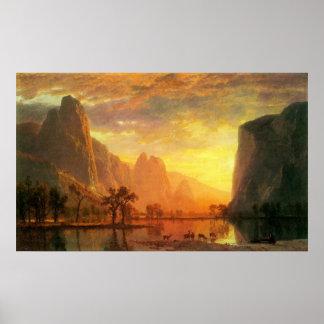 Valle en Yosemite por Bierstadt Póster