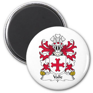 Valle Family Crest 2 Inch Round Magnet