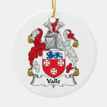 Valle Family Crest Double-Sided Ceramic Round Christmas Ornament