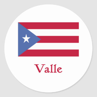 Valle Puerto Rican Flag Classic Round Sticker