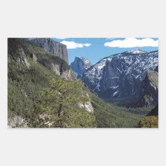 Valle Vista Yosemite de la montaña Pegatina Rectangular