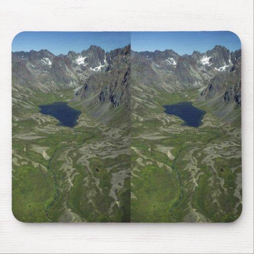 Valle y lago de la montaña tapete de ratón
