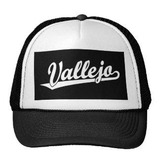 Vallejo script logo in white mesh hat