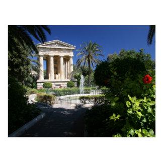 Valletta Malta ancient building in park Postcard