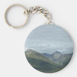 Valley between mountains basic round button keychain