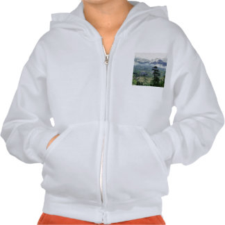 Valley deep below and hills right in front hooded sweatshirt