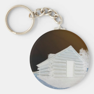 Valley Forge, Pa Cabin (colors modified) Basic Round Button Keychain