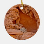 VALLEY OF FIRE ERODED DESERT ROCKS DETAIL Double-Sided CERAMIC ROUND CHRISTMAS ORNAMENT