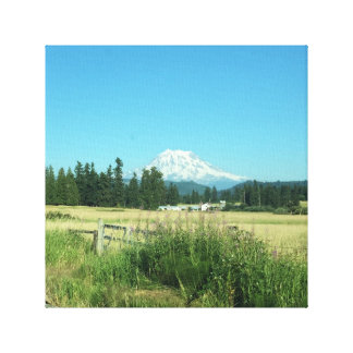 Valley View Of Mount Rainier. Wrapped Canvas. Canvas Print