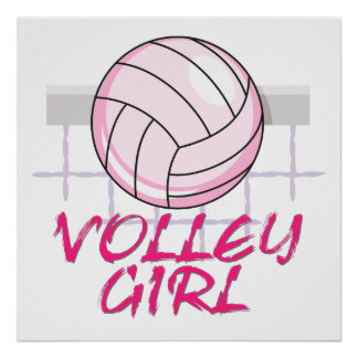 valley volley girl volleyball design poster