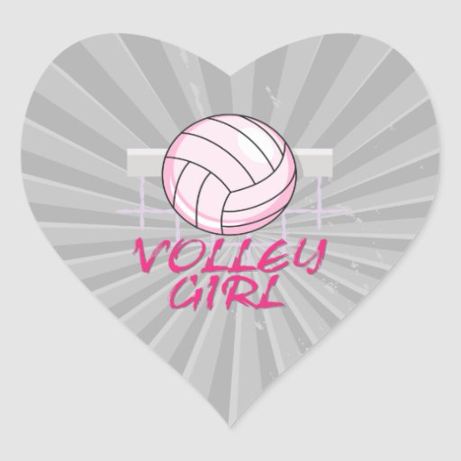 valley volley girl volleyball design heart stickers
