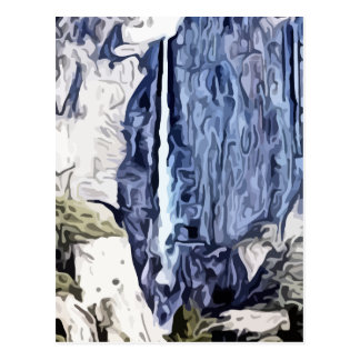 Valley waterfall painting postcard