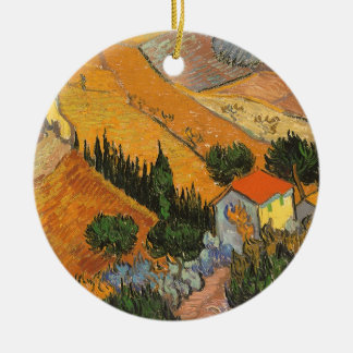 Valley with Ploughman by Vincent van Gogh Ceramic Ornament